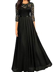 cheap -A-Line Empire Black Wedding Guest Formal Evening Dress Jewel Neck Half Sleeve Floor Length Lace with Lace Insert 2020