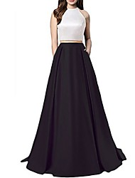 cheap -A-Line Color Block Prom Formal Evening Dress Halter Neck Sleeveless Floor Length Satin with 2020