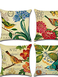 cheap -4 pcs Linen Pillow Cover, Animal Cartoon Rustic Square Traditional Classic