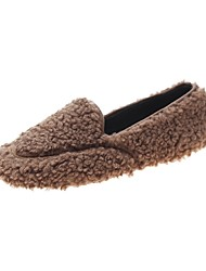 cheap -Women's Flats Flat Heel Round Toe Faux Fur Casual Fall & Winter Black / Brown / White