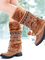 cheap -Women's Boots Low Heel Round Toe PU Mid-Calf Boots Fall & Winter Black / Purple / Gold