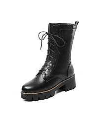 cheap -Women's Boots Low Heel Round Toe PU Mid-Calf Boots Classic / Minimalism Spring &  Fall / Fall & Winter Black / White / Red