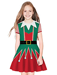 cheap -Kids Girls' Active Sweet Santa Claus Christmas Long Sleeve Above Knee Dress Green