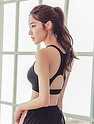 cheap -Women's Sports Bra Racerback Running Fitness Gym Workout High Impact Sweat-wicking Push Up Padded Medium Support Black Solid Color / Micro-elastic
