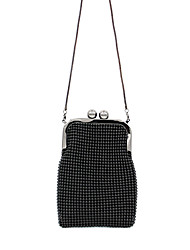 cheap -Women's Beading Polyester / Alloy Evening Bag Solid Color Black