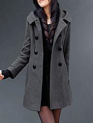 abordables -Femme Quotidien Longue Manteau, Couleur Pleine Capuche Manches Longues Polyester Noir / Gris