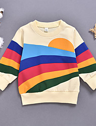 cheap -Baby Girls' Active Basic Striped Patchwork Long Sleeve Hoodie & Sweatshirt Rainbow