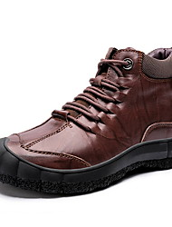cheap -Men's Comfort Shoes Leather Fall & Winter Boots Booties / Ankle Boots Black / Brown