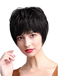 cheap -Human Hair Capless Wigs Human Hair Straight / Natural Straight Bob / Pixie Cut / Layered Haircut / Asymmetrical Style Cool / Fashion / Comfortable Black / White Short Capless Wig Women's / All