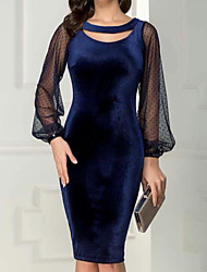 cheap -Women's Party Sheath Dress - Solid Colored Royal Blue M L XL XXL