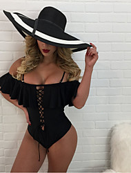 cheap -Women's Basic Black White Blushing Pink Triangle Cheeky High Waist One-piece Swimwear Swimsuit - Solid Colored Backless Ruffle Lace up S M L Black