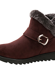 cheap -Women's Boots Snow Boots Wedge Heel Round Toe Suede Booties / Ankle Boots Winter Black / Brown / Wine