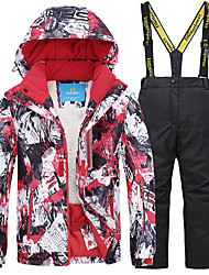 cheap -Boys' Girls' Ski Jacket with Pants Camping / Hiking Winter Sports Thermal / Warm Waterproof Windproof POLY Clothing Suit Ski Wear