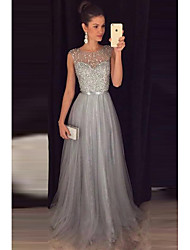 cheap -A-Line Illusion Neck Sweep / Brush Train Tulle Elegant / Grey Formal Evening / Wedding Guest Dress with Beading 2020
