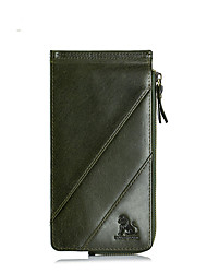 cheap -Men's Zipper Cowhide Wallet Solid Color Black / Army Green / Coffee