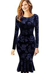 cheap -Women's Elegant Sheath Dress - Solid Colored Navy Blue S M L XL