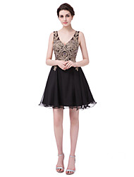 cheap -A-Line Plunging Neck Short / Mini Chiffon / Lace Cute / Minimalist Cocktail Party / Holiday Dress 2020 with Appliques / Crystals