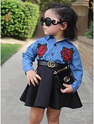 Χαμηλού Κόστους -Μωρό Κοριτσίστικα Καθημερινό / Ενεργό Rose Μονόχρωμο Κεντητό Μακρυμάνικο Μακρύ Σετ Ρούχων Θαλασσί