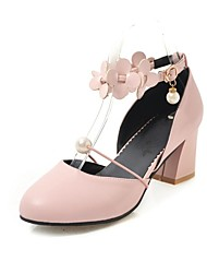 cheap -Women's Heels Chunky Heel Round Toe Imitation Pearl / Stitching Lace Faux Leather Casual / Sweet Walking Shoes Summer / Fall & Winter Black / White / Pink / Party & Evening