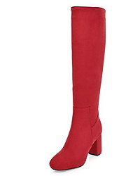 cheap -Women's Boots Chunky Heel Round Toe PU Knee High Boots Winter Black / Red / Blue