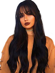 cheap -Synthetic Lace Front Wig Body Wave Natural Wave With Bangs Lace Front Wig Long Natural Black Synthetic Hair 18-26 inch Women's Life Adjustable Heat Resistant Black