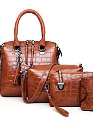 cheap -Women's Embossed PU Bag Set Crocodile 4 Pieces Purse Set Black / Brown / Blue