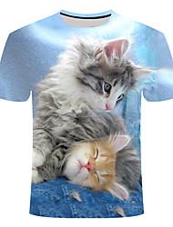 cheap -Men's Daily T-shirt - Animal Light gray