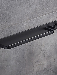 cheap -Towel Bar Black Wall Mounted Bathroom Towel Rack Aluminium Towel Bar Holder with Double Robe Hooks Bathroom Hardware Pendant