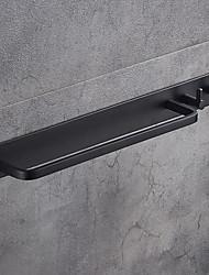 cheap -Towel Bar with Double Robe Hooks Wall Mounted Bathroom Single Towel Rod Aluminium Bathroom Hardware Pendant Matte Black 1pc