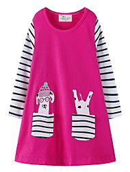 cheap -Kids Girls' Striped Dress Fuchsia