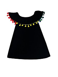 cheap -Kids Toddler Girls' Sweet Cute Solid Colored Short Sleeve Knee-length Dress Black