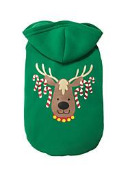 baratos -Cachorros Macacão Inverno Roupas para Cães Verde Ocasiões Especiais Algodão Animal Natal Fantasias Natal S M L XL