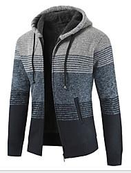 cheap -Men's Geometric Long Sleeve Cardigan Sweater Jumper, Hooded Yellow / Blue / Green M / L / XL