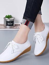 cheap -Women's Flats Flat Heel Round Toe Cowhide / PU Sweet / Minimalism Walking Shoes Spring & Summer / Fall & Winter Black / White / Beige
