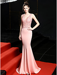 cheap -Mermaid / Trumpet V Neck Sweep / Brush Train Satin Sexy / Elegant & Luxurious Formal Evening Dress with Beading 2020