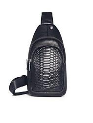cheap -Men's Embossed Cowhide Sling Shoulder Bag Black