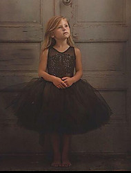 cheap -Toddler Girls' Active Sweet Holiday Going out Solid Colored Sequins Sleeveless Midi Dress Black