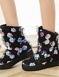cheap -Women's Boots Snow Boots Flat Heel Round Toe Sequin / Tassel Polyester Mid-Calf Boots Vintage / Casual Spring &  Fall / Fall & Winter Black / Purple / Green / Party & Evening