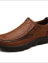 cheap -Men's Comfort Shoes Cowhide Winter Loafers & Slip-Ons Booties / Ankle Boots Brown / Light Brown