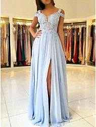 cheap -A-Line Elegant Blue Prom Formal Evening Dress V Neck Short Sleeve Sweep / Brush Train Chiffon with Split Appliques 2020