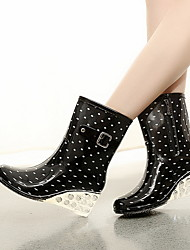 cheap -Women's Boots Rain Boots Wedge Heel Round Toe PVC Booties / Ankle Boots Fall & Winter Black / Wine