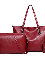 cheap -Women's Embroidery PU Bag Set Solid Color 3 Pcs Purse Set Black / Brown / Red