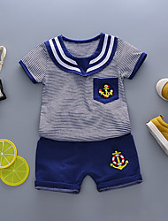 cheap -Baby Boys' Basic Geometric Short Sleeve Regular Regular Clothing Set Blue