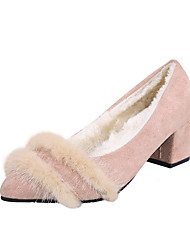 cheap -Women's Heels Chunky Heel Pointed Toe Suede Booties / Ankle Boots Winter Black / Pink