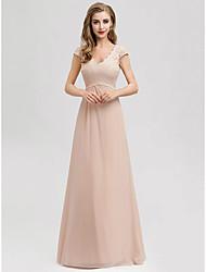 cheap -A-Line Elegant Formal Evening Dress V Neck Short Sleeve Floor Length Lace with 2021