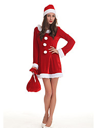 cheap -Santa Claus Mrs.Claus Dress Costume Women's Christmas Festival / Holiday Polyster Red Women's Carnival Costumes Solid Colored / Hat / More Accessories / More Accessories / Hat