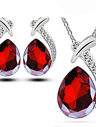 cheap -Women's Stud Earrings Pendant Necklace Briolette Precious Pear Unique Design Fashion Silver Plated Earrings Jewelry Red / Blue For Party Daily Work 1 set