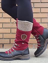 cheap -Women's Boots Flat Heel Round Toe PU Mid-Calf Boots Fall & Winter Black / Purple / Green / Color Block