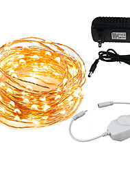 cheap -KWB 10m String Lights 100 LEDs 1 x 12V 3A Adapter / 1 x On-line Dimmer Dwitch Warm White / White / Multi Color Halloween / Christmas Creative / Party / Decorative 100-240 V 1 set