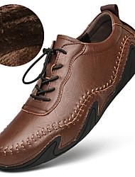 Недорогие -Муж. Кожаные ботинки Кожа / Наппа Leather Весна / Наступила зима Деловые / На каждый день Туфли на шнуровке Для прогулок Водостойкий Черный / Темно-русый / Темно-коричневый